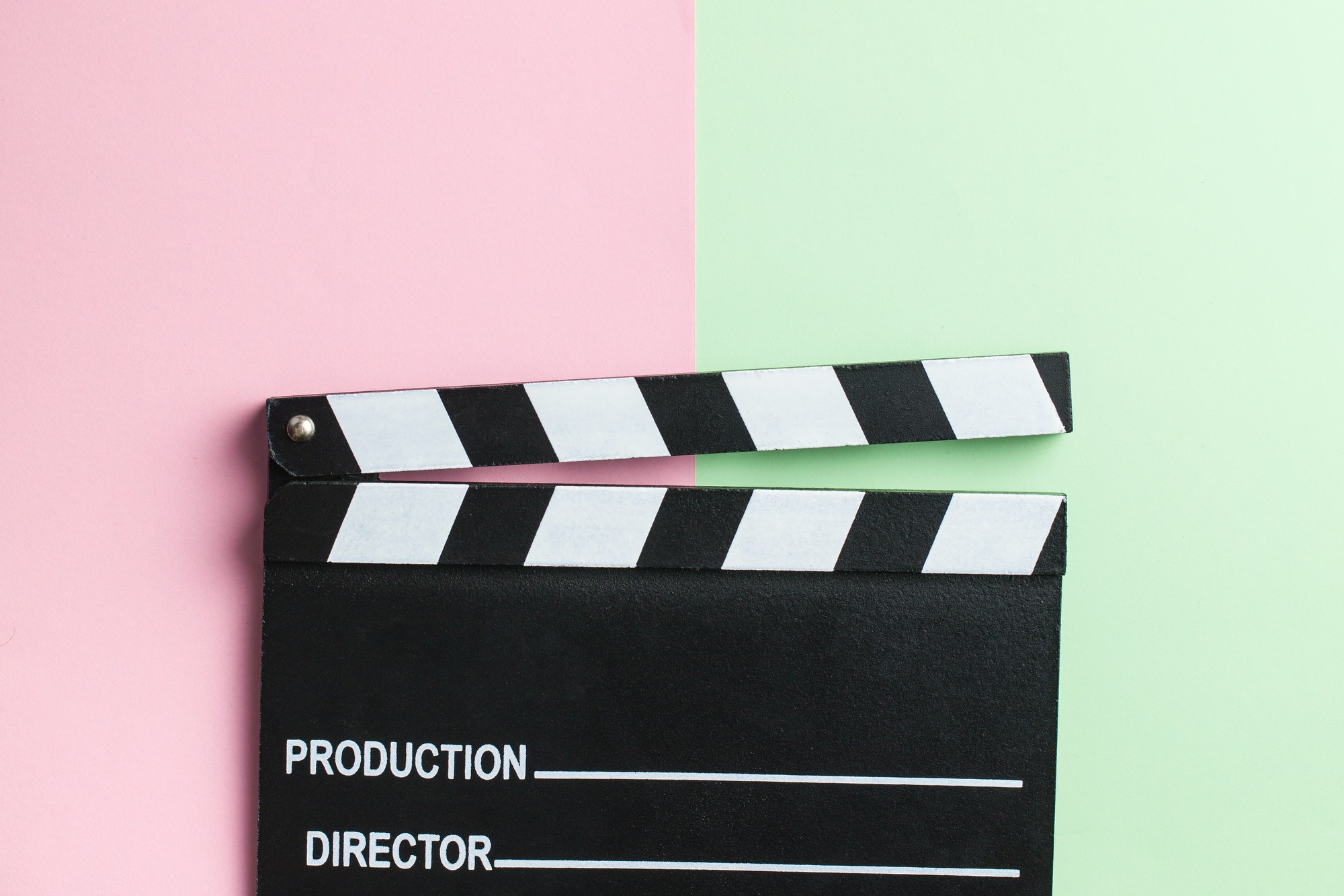 Movie clapper, clapperboard.